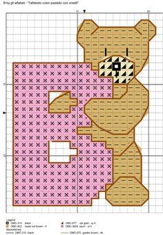 alfabeto colori pastello con orsetti B