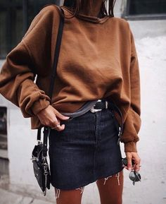 skirt sweater combo. love the sweater color