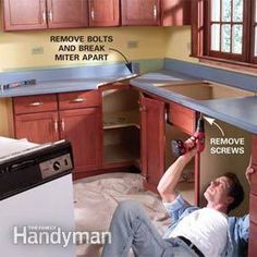 Remove old kitchen counters and install new laminate countertops, then complete the transformation by installing a new sink and faucet. This article shows you how. Kitchen Countertop Materials, Diy Kitchen Cabinets, Kitchen Sink Faucets, Kitchen Ideas, Kitchen Designs, Kitchen Tips, Sinks, Kitchen Redo, How To Install Countertops