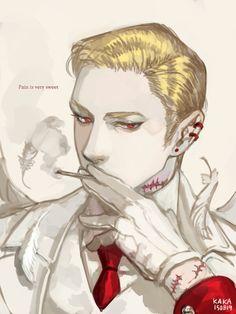 [紅] 색조합: 골드/레드 포인트색: 루비 레드 다듬어진 머리에 반개안 눈. 새하얀 피부의 개성적인 남성 천사. 키워드는 자해+제복 http://kr.shindanmaker.com/376266 오랜만에 이 진단 그렸다 '▽`)9