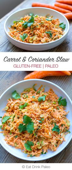 Carrot and Coriander Slaw | http://eatdrinkpaleo.com.au/coriander-carrot-slaw-recipe/