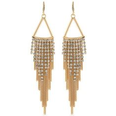 Carolee White Gold-Tone Abs Color Binge Chain Chandelier Earrings ($65) ❤ liked on Polyvore featuring jewelry, earrings, white, chandelier earrings, earring jewelry, white chandelier earrings, white earrings and fringe earrings