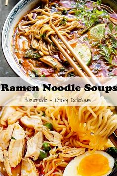 "Substitute zoodles for the noodles! 25 ""Ramen"" Noodle Soups That Will Drive You Crazy Ramen Recipes, Asian Recipes, Dinner Recipes, Cooking Recipes, Healthy Recipes, Noodle Recipes, Noodle Soups, Ramen Noodle, Pasta"