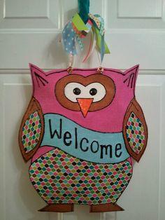 Burlap Owl Door Holder. $40.00, via Etsy.