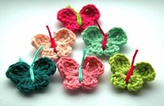 I love this shop!  Have to work at not buying a bucket full of these little crochet pieces! Crochet Butterflies x 6 by AnnieDesign on Etsy, $4.50