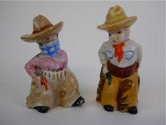 Vintage Retro Cowboy Western Figural Salt and Pepper Salt and Pepper Shakers. via Etsy.