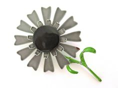 Vintage Gray Black Enamel Flower Pin Large Grey Daisy Brooch
