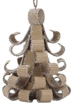 """Amazon.com: Pack of 6 Natural Effects Corrugated Cardboard Christmas Tree Ornaments 5"""": Home & Kitchen"""
