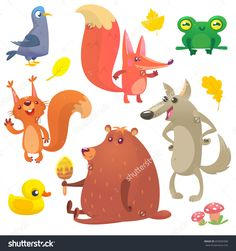 Vector set of animal icons isolated on white. Vector illustration of pigeon fox frog squirrel duck bear and wolf. Design for logo print emblem or children book Big Animals, Forest Animals, Woodland Animals, Animals For Kids, Logo Animal, Animal Graphic, Cartoon Cartoon, Children's Book Illustration, Graphic Design Illustration