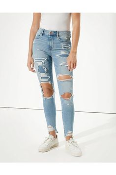 Light Jeans Outfit, Ripped Jeans Outfit, Ripped Mom Jeans, High Jeans, High Waist Jeans, Womens Ripped Jeans, Cute Jeans, Jeans Fit