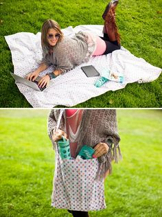 When you're planning a picnic with a group of friends, figuring out who's gonna lug the picnic blanket is like playing a game of hot potato. It's bulky, awkward to carry, and let's face it, we'd much rather bring the fun stuff along like good grub and playful party favors! But seeing as it's such a key element to this al fresco event, we knew there had to be a way to conveniently carry a good-sized blanket and still have room in your bag for other crowd-pleasing provis...