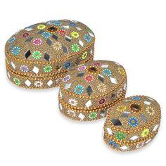 Yellow Golden Decorative Jewelry Box Set of 3: Amazon.co.uk: Kitchen & Home