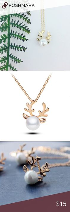 HPGold Reindeer Necklace 14k gold plated reindeer necklace features faux pearl center and crystal ears. Chain measures approx 16 inches with a 2 inch extender and pendant measures approx 1 inch. Be sure to check my closet for matching earrings!   All Pineapple.PalmBeach jewelry and hair pins come packaged on crisp white packaging and tucked carefully into white chiffon pouches ready for you or a friend to enjoy!   Don't forget to shop my closet for a bundle discount! Pineapple.PalmBeach…