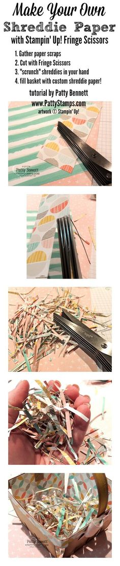 How to make your own shreddie paper with Stampin Up fringe scissors for the Berry Basket Big Shot die by Patty Bennett