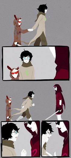 Tags: Anime, Homestuck, Dirk Strider, Jane Crocker, Lil Sebastian.  Another lil seb comic, cuz he's awesome!