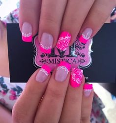 34 Trendy Ideas For Pedicure Ideas Neon Summer Colors 34 Trendy Ideas For Pedicure Ideas Neon Summer Colors Pink Manicure, Pink Acrylic Nails, Pedicure Nail Art, Toe Nail Art, Pedicure Ideas, Fancy Nails, Bling Nails, Glitter Nails, Gel Nails