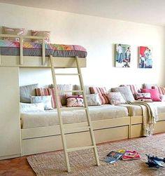 15 Bedroom Interior Design Ideas For Two-Kids kids-bedroom-for-two or three Girl Room, Girls Bedroom, Bedroom Decor, Childrens Bedroom, Extra Bedroom, Trendy Bedroom, Kid Beds, Bunk Beds, Sofa Beds