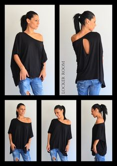 Hey, I found this really awesome Etsy listing at https://www.etsy.com/listing/208093309/black-loose-topblack-off-shoulder-top