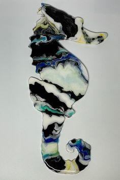 """Fluid Art Seahorse on Wood, sealed in Resin. Colors are White, Black, Blue, Teal, and Yellow. Size: 15"""" tall x 6.75"""" at widest point x 0.25"""" thick, weight 4.7oz Unique Wall Art, Wood Canvas, Resin Art, Yellow, Blue, Artworks, Art Pieces, Teal, Unique Jewelry"""