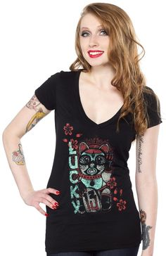 LUCKY 13 HELLO LUCKY V NECK TEE Add a little luck to your life with this charming top! The traditional Maneki-neko has been updated in a tattoo style popular by Lucky 13 and is printed on a deep v-neck tee. $28.00 #lucky13 #cat