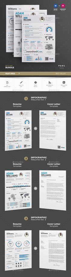Modern 2 page resume template by @Graphicsauthor Resume CV - 2 page resume