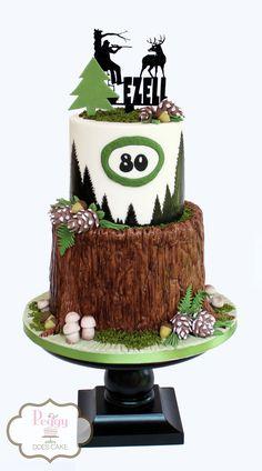 Hunter' themed cake for an 80th birthday celebration!  #deerhuntercake #huntercake #treestumpcake #treebarkcake #pinetreecake #fondantpinecone #fondantmushroom #ediblemosscake #woodscake #huntingcake #deerstandcake #buckcake #bigbuckcake #peggydoescake