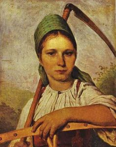 Peasant Woman with Scythe and Rake - : Canvas Art, Oil Painting Reproduction, Art Commission, Pop Art, Canvas Painting Painting, Painting Reproductions, Art, Canvas Art, Canvas Painting, Ukrainian Art, Artwork Painting, Portrait Art, Pop Art