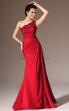 Red Long Chiffon and Lace One Shoulder Mermaid Bridesmaid Dress JT-CA1350