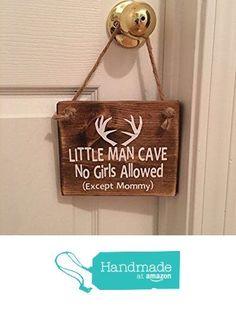 """Adorable Rustic """"Little Man Cave"""" With Antlers Wooden Door Sign / Door Hanger for Little Boys Room / Nursery from Millies Attic https://www.amazon.com/dp/B01EU9ISJG/ref=hnd_sw_r_pi_awdo_P7vKxb3DSAX9K #handmadeatamazon"""