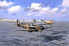"""A Gentleman's War"" by Geoff Nutkins - The painting depicts Luftwaffe ace Hauptmann Rolf Pingel of I./JG26 falling victim to the guns of Pilot Officer Bob Doe of No.234 Squadron off the south coast of England during the Battle of Britain. Doe allowed Pingel to ditch his crippled Me109 in the English Channel, where he was eventually picked up by an E-Boat. Pingel survived the war, being taken prisoner on 10 July 1941. He died in 1970s. Wing Commander Bob Doe DSO DFC died on 21 February 2010."