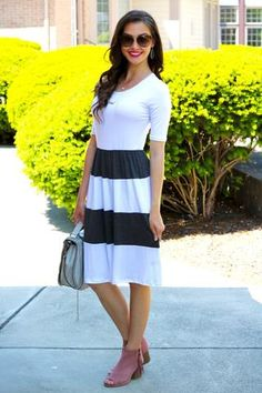 Charlize Ivory and Charcoal Colorblock Midi Dress