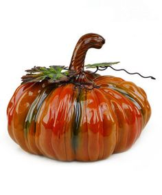 Love this Ceramic Leafy Pumpkin by Shea's Wildflowers Company on #zulily! #zulilyfinds