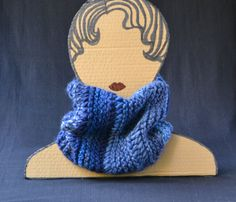 Cute Blue Knitting Cowl - Navy Blue  Wool Scarf - Handmade Chunky Knit Cowl - Women Gift - Free Gift Bag