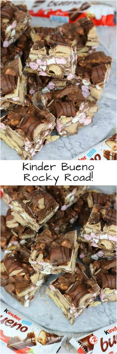 Easy, Delicious Kinder Chocolate Rocky Road with Biscuits, Marshmallows and Kinder Bueno. Easy, Delicious Kinder Chocolate Rocky Road with Biscuits, Marshmallows and Kinder Bueno. Köstliche Desserts, Chocolate Desserts, Delicious Desserts, Baking Recipes, Cake Recipes, Dessert Recipes, Fudge Recipes, Food Cakes, Cupcake Cakes