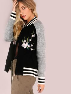 """You knitted beauty. Featuring a bomber style jacket with a varsity look, embroidered flower patches, warm knit material, two side pocket design and front zip closure. Jacket measures 24"""" in. from top to bottom hem. Team with a flowy top and black denim shorts. #urban #MakeMeChic #style #fashion #newarrivals #fall16"""