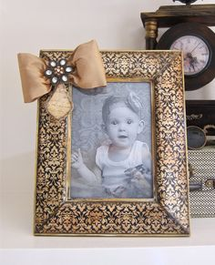 Mothers Day Black Ivory Photo Frame Jeweled by HannahBowBanna