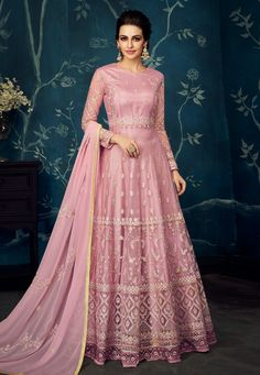 78b86d8c67 Buy Pink Georgette Embroidered Floor Length Anarkali Suit 166197 online at  lowest price from huge collection