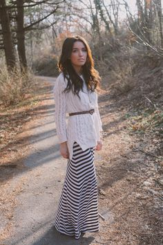 belted sweater | striped maxi