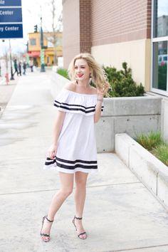 Spring style, off the shoulder dress, spring dress, summer fashion, spring fashion, womens fashion, classy, feminine, cute fashion ideas, cute dress