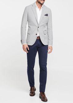 Mango Cotton Pique Blazer in Gray for Men (Light Grey) | Lyst