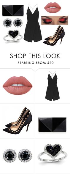 """Dark look"" by victoriamello11 on Polyvore featuring Lime Crime, Topshop, Gianvito Rossi, UN United Nude and Kevin Jewelers"