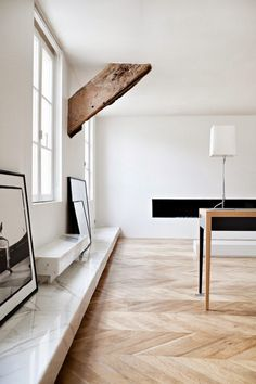 marble ledge and chevron floors | frederic berthier