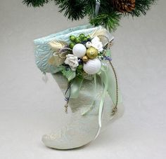 Calza di Natale menta pallido Holiday Decor vittoriano calze Mint Gold Sparkle Natale Decor menta nozze d'oro Natale