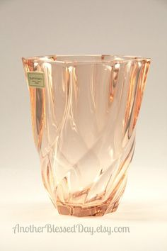 Luminarc France Pink Swirl Vase by AnotherBlessedDay on Etsy, $10.00