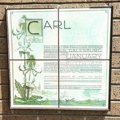 Carl Sandburg.  #carlsandburg #poetry #illinois #bookstagram #instabooks #instareads #bookworm #bookgeek #booklove #reading #galesburg #pulitzer #poet #art #tiles #bricks #bookaholic #bibliophile