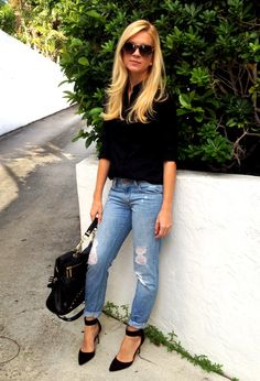 Distressed denim & zara pumps. black button down, heels