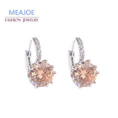 Fashion Alloy Silver-Plated 5 Color Geometry Crystal Earrings Simple Jewelry Design Round Zirconia Stud Earrings For Women *** Click the image to visit the website