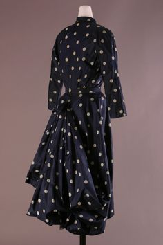 Balenciaga  Dress - 1950. Navy silk taffeta with resist print white dots.