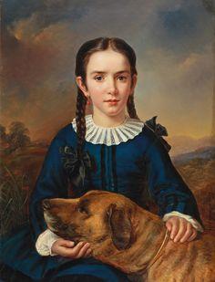 Elisabeth Modell (Austrian, 1820 - 1865): Portrait of Baroness Trent-Turcati with dog (1856) (via Dorotheum)