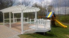 Backyard ideas ideal for young & old. Vinyl Pergola, Young Old, Backyard Ideas, Outdoor Structures, Home, Ad Home, Homes, Garden Ideas, Yard Crashers